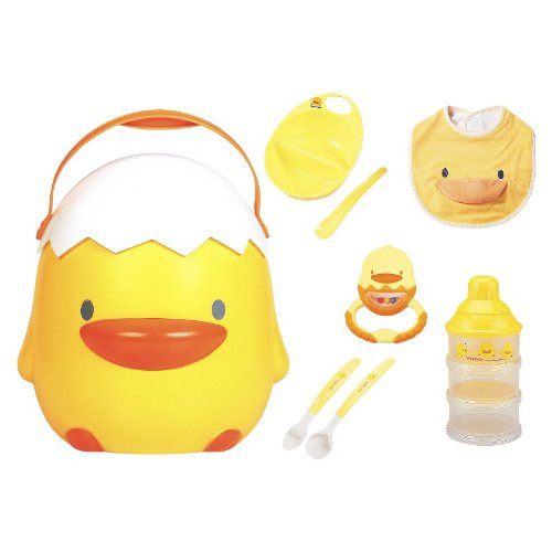 Perfect 8pc Baby Feeding Gift Set in Big Yellow Duckling Storage Case