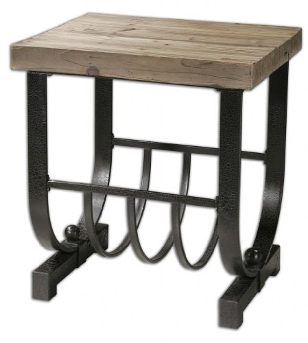 Rustic Wrought Iron Accent Table With Pine Plank Top