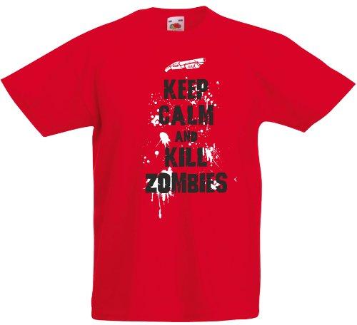 Maglietta per bambini, Keep Calm And kill zombies Multicolore rosso/nero