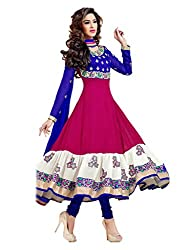 1 Stop Fashion Wear this Eye catching attire and get noticed in your circle. Blue & Pink color Georgette top is Attractive Embroidery & Lace Work. Blue Santoon bottom and Blue Chiffon cotton dupatta is combined perfectly in this dress material. This stylish attire will enhance your charm. Accessories shown in the image are for photography purpose. (Slight color variation is possible)