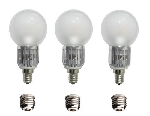 Grimaldi Lighting Rendition Series Led Round Bulb With A Candelabra Base, E12, 3 Pack, 320 Lumens, 4 Watts, Warm White, Dimmable, Comes With E26 Adapters, 40 Watt G35 Or G45 Equivalent
