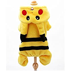 SIZE S Pokemon Dog Costume New Arrival Dogs Clothes Cute Cartoon Pikachu Design Cosplay Pets Costume Dog Clothing For Cats Puppy Hoodie Winter Warm Coat