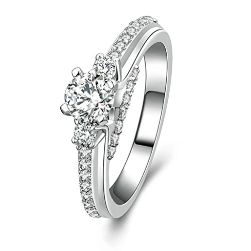 Daesar Silver Plated Rings Womens Engagement Rings Custom Ring Round CZ Ring Little CZ Ring Size 8.5 (Oster 11 2 Blade compare prices)