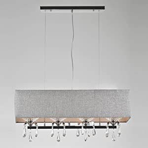 Modern Dining Room Crystal Rectangle Pendant Light Grey Fabric L
