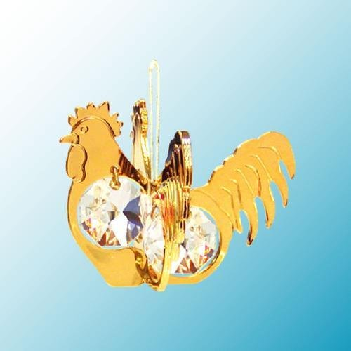 24K Gold Plated Hanging Sun Catcher or Ornament..... Rooster with Clear Swarovski Austrian Crystal - 1