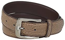 Stacy Adams Men's 32mm Genuine Leather Lizard Skin Print Belt With Brushed Nickle Buckle, Chocolate, 38
