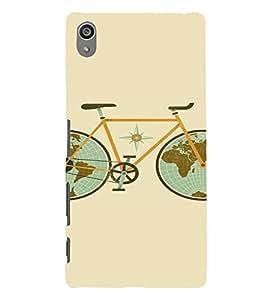 PrintVisa Travel Cycle Map Design 3D Hard Polycarbonate Designer Back Case Cover for Sony Z5 Plus :: Z5 Premium