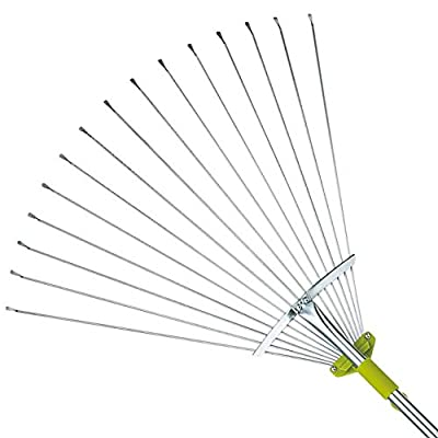 63 Inch Adjustable Garden Leaf Rake - Expanding Rake - Expandable Head From 7 Inch to 22 Inch
