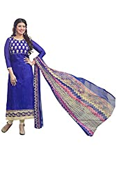 Adorn Mania Blue Heavy Chanderi Embroidered salwar Suits Dress Material