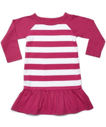 "Leveret Long Sleeve ""Striped Dress"" 100% Cotton (Size 6M-5T) (5 Toddler, Magenta & White)"