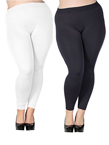 Zando Women's Plus Size Modal Seamless Full Length Stretchy Basic Ankle Leggings E 2 Pairs Black w White US 2X Plus