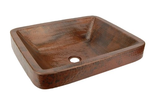 Premier Copper Products VREC19SKDB Rectangle Skirted Vessel Hammered Copper Sink, Oil Rubbed Bronze