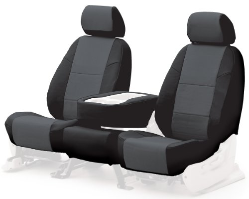 Coverking Custom-Fit Front Bucket Seat Cover - Leatherette, Black-Charcoal
