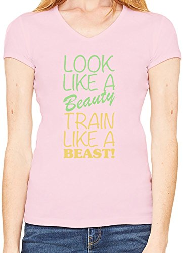 Look Like A Beauty Train Like A Beast Slogan Scollo a V T-shirt da donna XX-Large