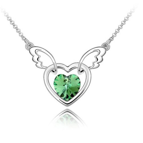 Mqueen Peridot Green Angel Wing With Open Heart Pendant Necklace front-936537