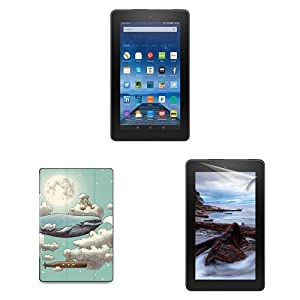 "Fire Essentials Bundle including Fire 7"" Tablet with Special Offers, caseable Ocean Meets Sky Cover and Screen Protector"