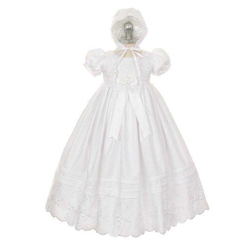 Rain Kids White Satin Puff Bonnet Baptism Dress Baby Girl 24M