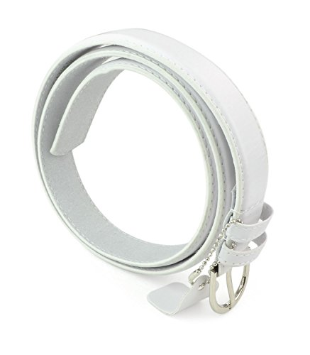 belle-donne-womens-1-1-8-in-bonded-leather-belt-with-metal-buckle-white-medium