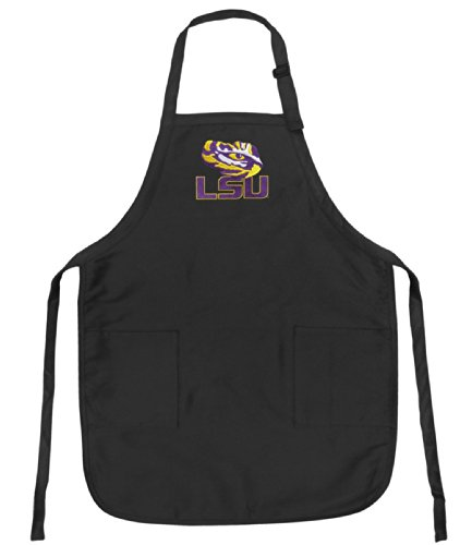 Lsu Apron Ncaa College Logo Black Lsu Tiger Eye Top Rated For Grilling, Barbecue, Kitchen