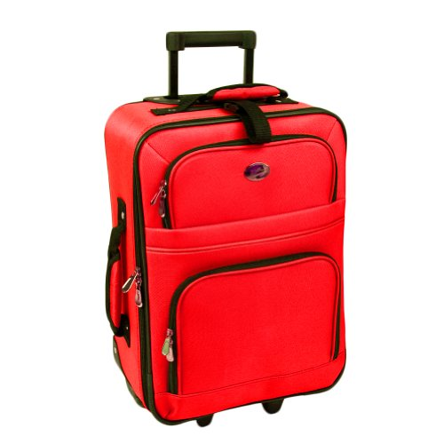 New Red Travel Carry On Suitcase On Wheels With Extendable Handle