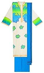 Sree Hamsa Women's Cotton Unstitched Dress Material (White)