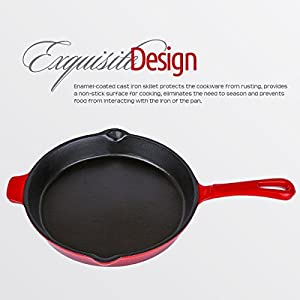 Enameled Cast Iron Skillet, Island Spice Red (11 inch) - Utopia Kitchen