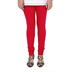 Vami Cotton Churidar Leggings in Red Color _VM1001(06)