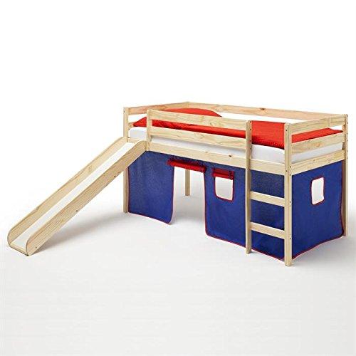 Spielbett Rutschbett Hochbett mit Rutsche BENNY, Kiefer massiv, mit Vorhang in blau/rot günstig