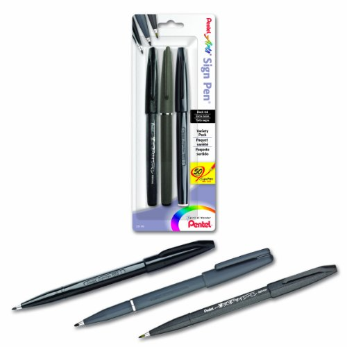 Pentel Arts Sign Pen Assorted Styles, Pack of 3 (STSBP3A)