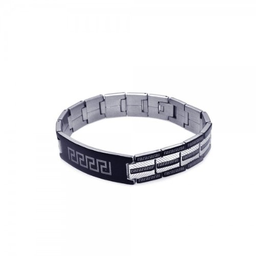 5 Row Black Celtic & Chrome Design Id Stainless Bracelet Bracelets Men's
