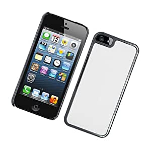 Apple iPhone 5 Luxury Satin Metal Case, Black with Silver Vertical Satin Metal Back