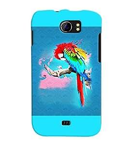 PrintVisa Birds Parrot Colorful 3D Hard Polycarbonate Designer Back Case Cover for Micromax Canvas 2 A110 A110Q