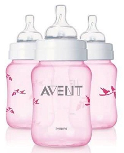 Philips AVENT SCF624/37 BPA Free Classic 9 Ounce Pink Deco Bird Bottles, 3-Pack - 1