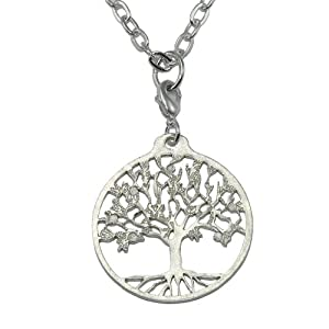 Tree of Life Silver-dipped Pendant Necklace on 18-36