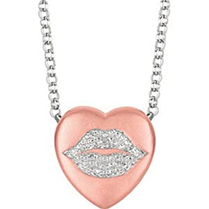 IceCarats Designer Jewelry Rgpster .02 Ctw Diamond Lips Heart Necklace 00.75 Mm 16 Inch