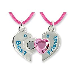 Best Friends Forever Twin Pendants in Keepsake Boxes Pink Heart Girls Necklace