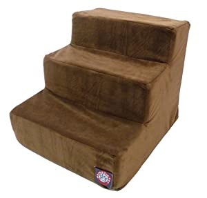 Majestic Pet 3 Step Suede Pet Stairs, Chocolate