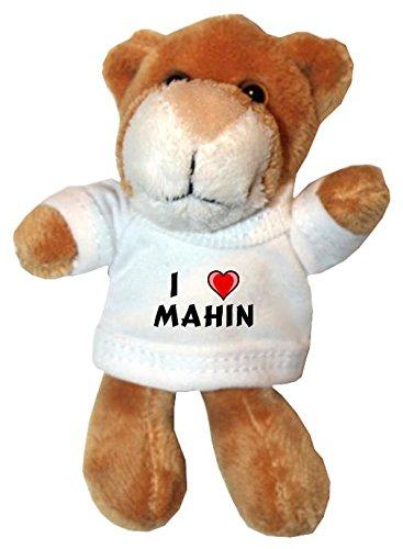 Plüsch Löwe Schlüsselhalter mit einem T-shirt mit Aufschrift mit Ich liebe Mahin (Vorname/Zuname/Spitzname)