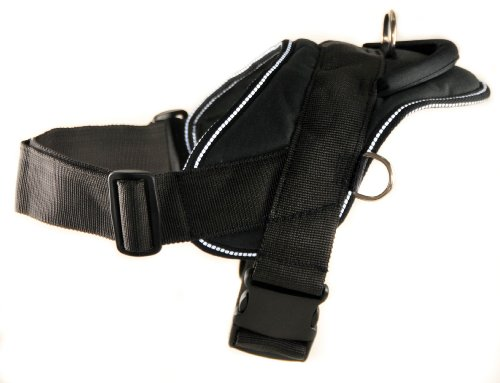 Dean  &  Tyler - DT Dog Harness - Size: LARGE (Fits Girth: 81cm - 107cm) - BLACK with White Reflective Trim