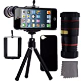Moon Monkey Iphone 5 Camera Lens Kit Including 8x Telephoto Lens / Mini Tripod / Universal Phone Holder / Hard Case for Iphone 5 / Velvet Phone Bag /Microfiber Cleaning Cloth – Awesome Accessories and Attachments for Your Apple Iphone 5 Camera (Black)