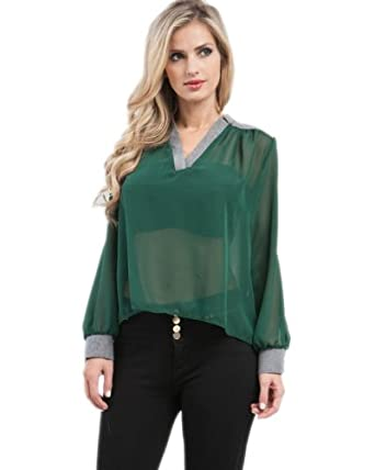 G2 Chic Women's Denim Trim Draped Shirt(TOP-CAS,GRN-S)