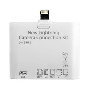 eShop24x7 5 in 1 USB SD/TF Card Reader Adapter Camera Connection Kit for iPad Mini / iPad Air New / iPad Pro