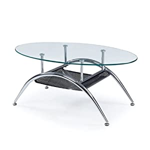 Global Furniture USA TA095 Occasional Coffee Table, Clear/Silver/Black