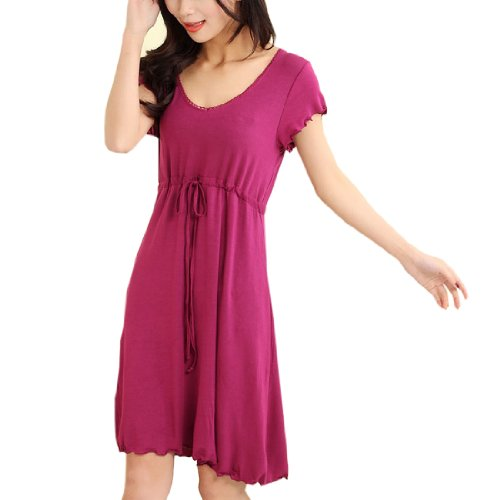 Womens Modal Cotton Stringy Selvedge Nightgown Casual Belted One Piece Dress Medium,Red front-72372