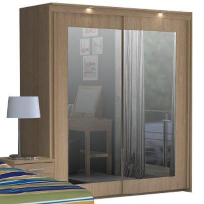 Bronte BRTS921SB - Armario de 2 puertas correderas con espejo, efecto madera de roble