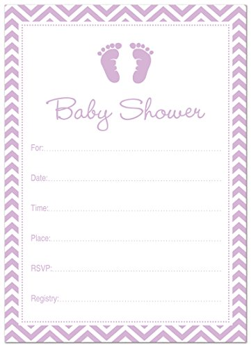 24 Cnt Purple Baby Feet Footprint Fill-in Baby Shower Invitations (Purple Baby Shower Invites compare prices)