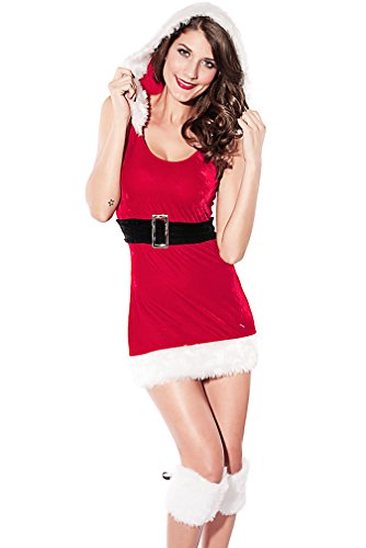 Dear-lover Women's Stretchy Velvet Hooded Mini Dress Christmas Costume CST51