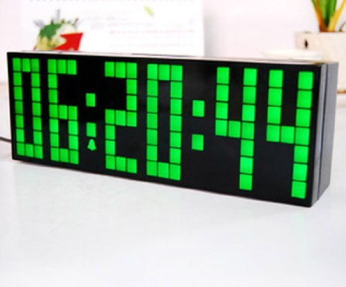 Zjchao(Tm) Large Big Number Jumbo Led Snooze Wall Desk Alarm Clock Count Down Timer With Calendar (Green / 6-Digit Version) front-791431