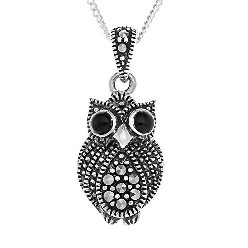 ornami-sterling-silver-marcasite-and-agate-owl-pendant-with-46-cm-chain