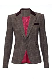 M&S Woman Single Breasted Checked Blazer [T91-1719-S]